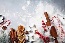 Bakery Background For Cooking Christmas Baking With Rolling Pin, Scattered Flour And Spices Decorated With Fir Tree Top View.