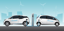 Two Carsharing Electric Car Wi...