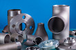 Leinwandbild Motiv Set of steel welding fittings like tees, elbows, flanges, reducers, sockets, nipples, cups and others.
