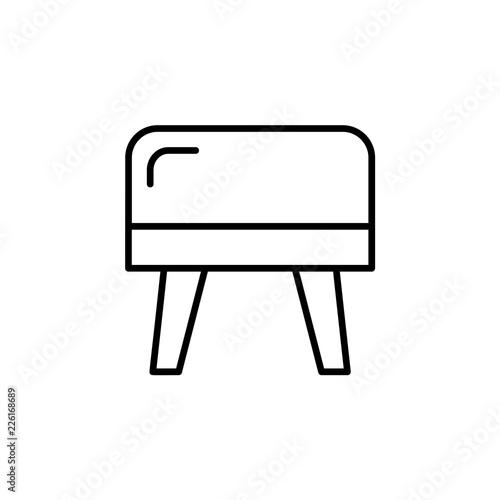 Pleasant Black White Vector Illustration Of Cube Leather Ottoman Inzonedesignstudio Interior Chair Design Inzonedesignstudiocom