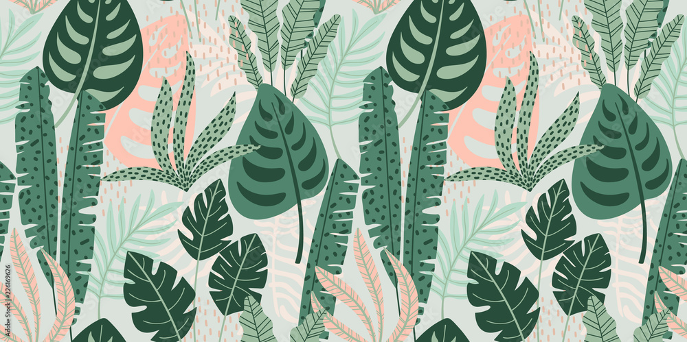 Fototapeta Abstract seamless pattern with tropical leaves. Vector template.