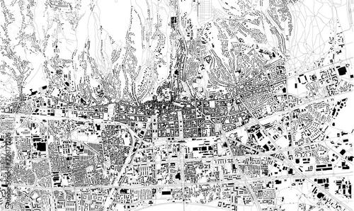 Mappa satellitare di Zagabria, capitale, Croazia, strade della città Wallpaper Mural