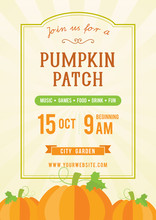 Pumpkin Patch Invitation Flyer Vector Illustration, Vintage Frame With Pumpkins.