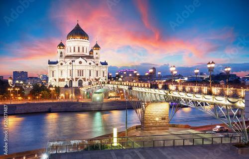 Keuken foto achterwand Aziatische Plekken Moscow, Russia - Sunset view of Cathedral of Christ the Savior
