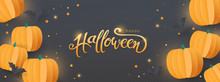 Happy Halloween Sale Banners Or Party Invitation Background With Paper Bats And Pumpkins.Vector Illustration .