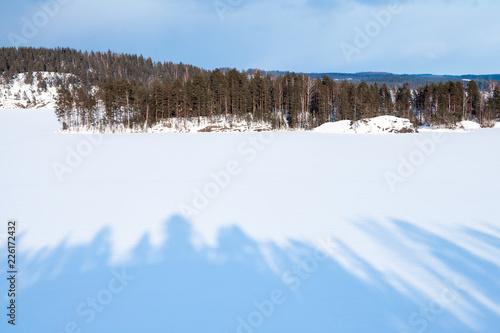 Coastal winter landscape of Saimaa lake