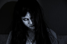 Close Up Face Of Horror Woman ...