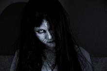 Close Up Face Of Horror Woman Ghost Cruel,