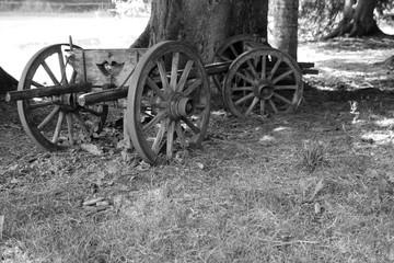 Fototapeta na wymiar Vieille charrette en noir et blanc