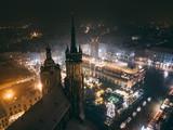 Fototapeta Miasto - Kraków Bazylika Mariacka z powietrza - Boże Narodzenie