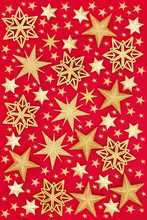 Abstract Gold Star Christmas Bauble Decorations Forming A Background. Traditional Festive Card For The Christmas Holiday Season.