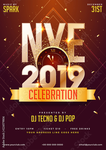 nye new year eve 2019 party celebration template design with time and venue details