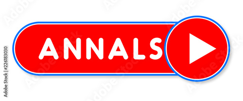 Annals - white text written on a red banner on white background Canvas Print