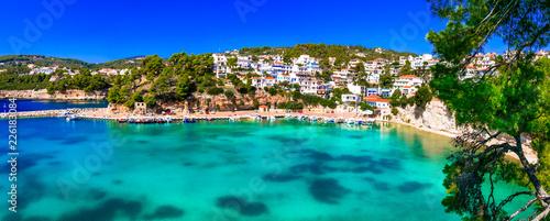Beautiful Alonissos island - picturesque fishing village and tourist resort Votsi. Greece, Sporades