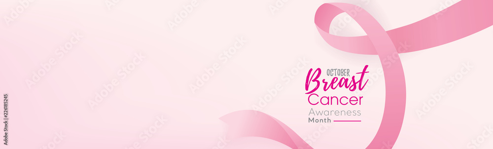 Fototapeta Breast cancer awareness campaign banner background with pink ribbon