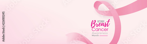 Breast cancer awareness campaign banner background with pink ribbon Billede på lærred