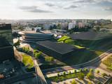 Fototapeta Miasto - Katowice Spodek z powietrza (panorama)