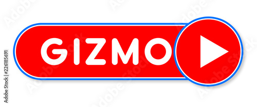 Gizmo - white text written on a red banner on white background Wallpaper Mural