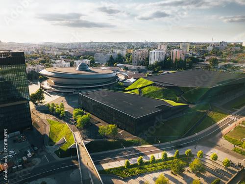 Katowice Spodek z powietrza (panorama)