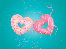 Sprinkled Pink Donut Flying In Heart Shape, With Clipping Path 3d Illustration.