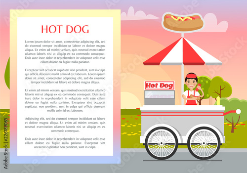 Photo  Hot Dog Poster and Text Sample Vector Illustration