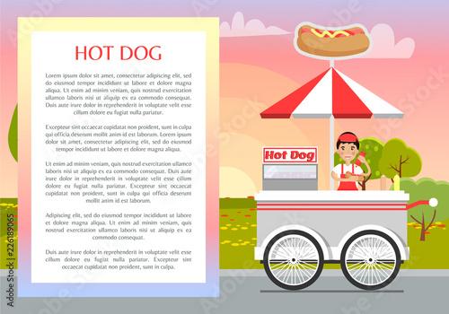 Hot Dog Poster and Text Sample Vector Illustration Wallpaper Mural