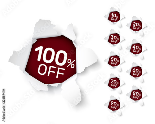 Photo  Paper explosion banner collection off with share discount percentage