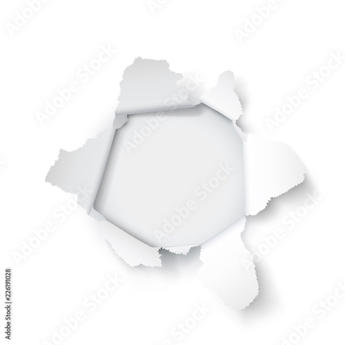 Photo  Explosion paper hole on the white background. Vector illustration