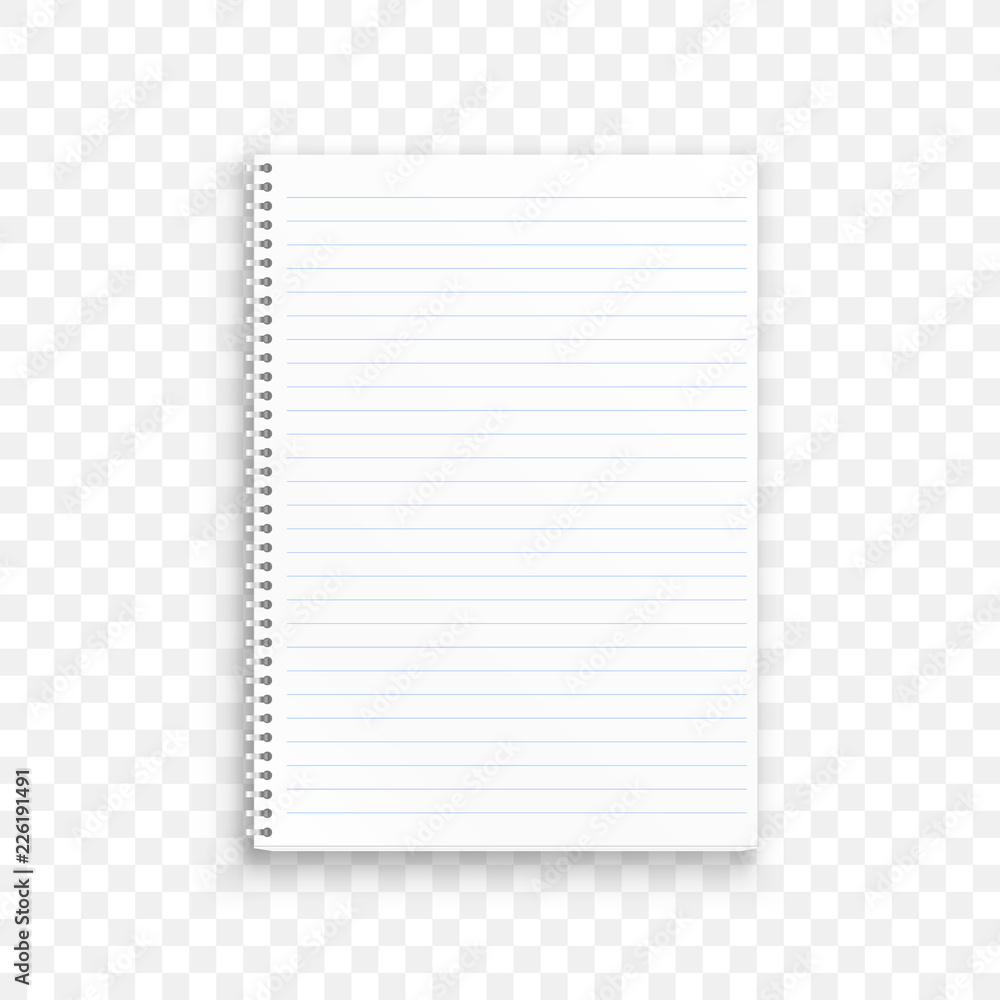 Fototapeta Blank realistic spiral notepad notebook isolated on transparent background. Vector illustration