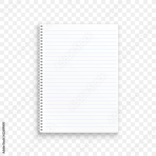 Blank realistic spiral notepad notebook isolated on transparent background. Vector illustration Wall mural