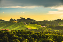 Austria, Slovenia Vineyards Sulztal Area South Styria , Wine Country Path To Heart Shaped Street Tourist Spot