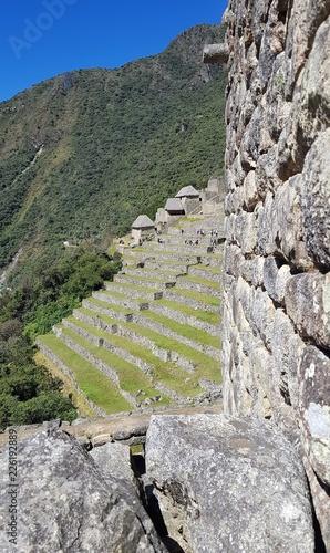 Fotobehang Zuid-Amerika land Vue sur les terrasses au Machu Picchu