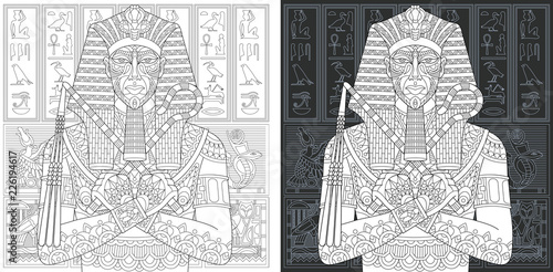 Fotografie, Tablou Egyptian pharaoh. Coloring Page. Coloring Book.