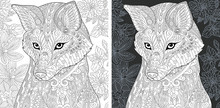 Fox And Flowers. Coloring Page...