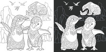 Penguins, Polar Bears, Sea Gulls. Coloring Page. Coloring Book.