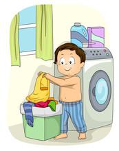 Kid Boy Laundry Basket Illustr...