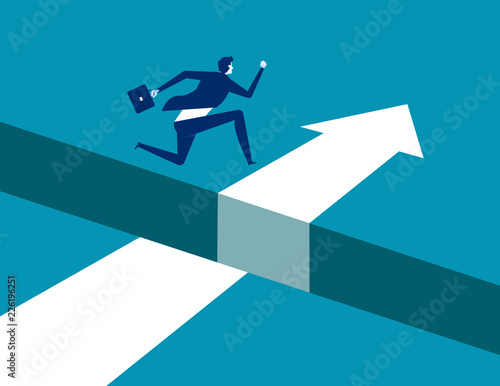 Foto Businessman jumping  over gap on way to success, Concept business solving problem vector illustration, Flat business character, Cartoon style design