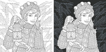 Girl In Winter Forest. Coloring Page. Coloring Book.