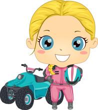 Kid Girl Quad Bike Illustration