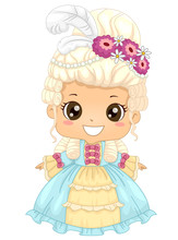 Kid Girl Victorian Dress Illus...