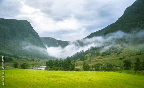 Obraz A beautiful green mountain valley near Rosendal in Norway. Autumn landscape in Folgefonna national park. Overcast day. - fototapety do salonu