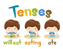 Kids Boy Eat Tenses Lesson Illustration