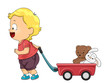 Kid Toddler Boy Pull Wagon Toys Illustration