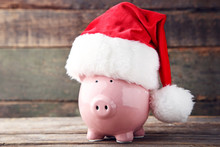 Red Santa Hat With Piggy Bank ...