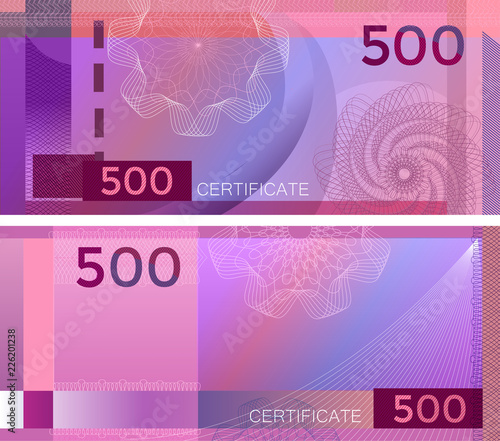 Fotografia  Voucher template banknote 500 with guilloche pattern watermarks and border