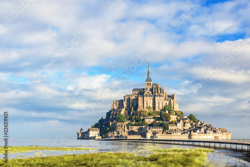 Le Mont Saint Michel abbey on the island, Normandy, Northern France, Europe Wallpaper Mural
