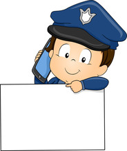 Kid Toddler Boy Police Call Illustration