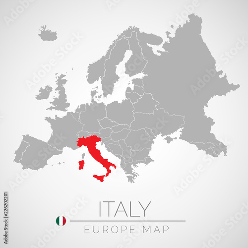 Map Of European Union With The Identication Of Italy Map Of Italy