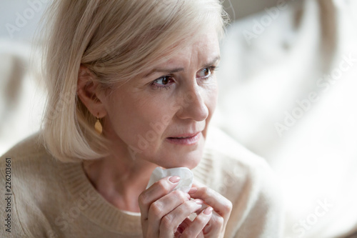Sad Frustrated Mature Old Woman In Tears Feeling Blue Thinking Of