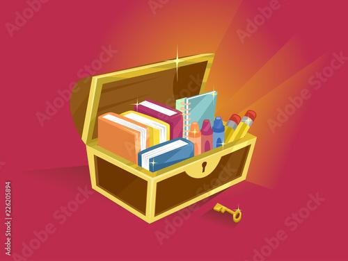 Foto School Supplies Treasure Chest Illustration